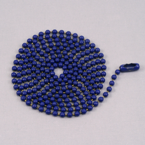 "Chain & Clasps Blue Ball Chain with connector, 30"" 2.4mm"