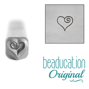 Metal Stamping Tools Heart Spiral Metal Design Stamp, 4.5mm - Beaducation Original