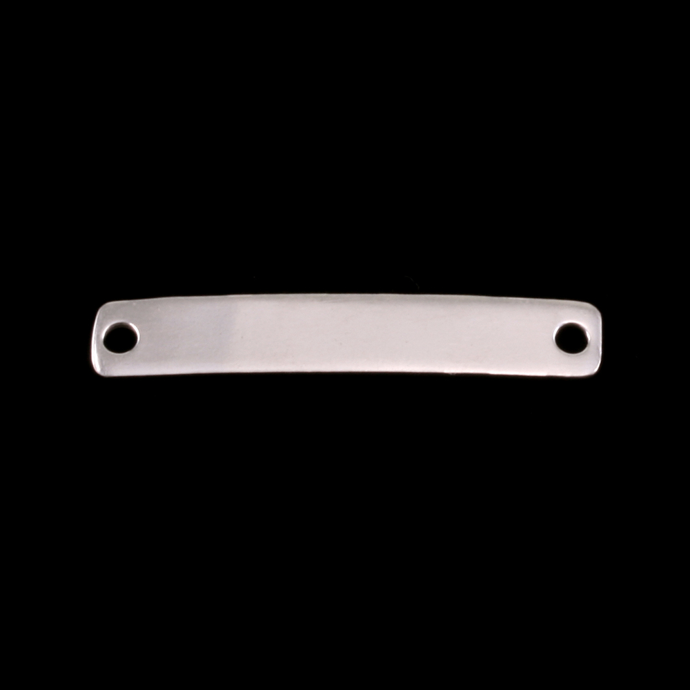 "Metal Stamping Blanks Sterling Silver Rectangle Connector with Holes, 34.8mm (1.37"") x 6mm (.24""), 22g"