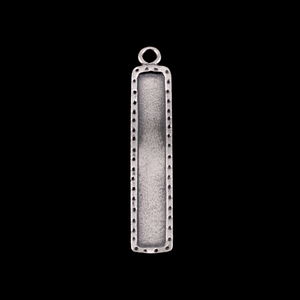 Metal Stamping Blanks Sterling Silver Dotted Raised Edge Rectangle Pendant