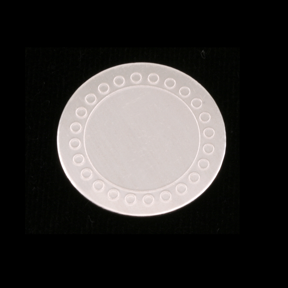 """Metal Stamping Blanks Sterling Silver Circle with Dot Border, 19mm (.75""""), 24g"""