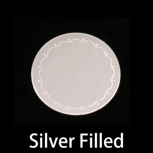 "Metal Stamping Blanks Silver Filled Circle with Wavy Border, 19mm (.75""), 24g"
