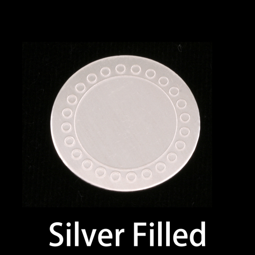 "Metal Stamping Blanks Silver Filled 3/4"" (19mm) Circle Dot Border Blank, 24g"