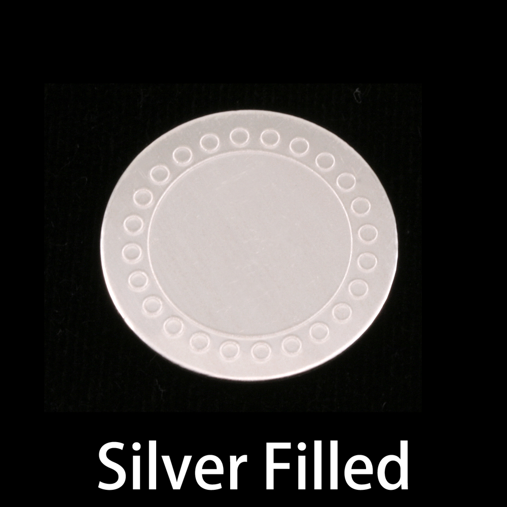 "Metal Stamping Blanks Silver Filled Circle with Circle Dot Border, 19mm (.75""), 24g"