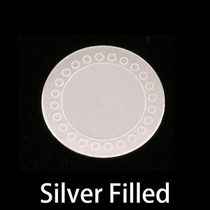 "Metal Stamping Blanks Silver Filled Circle with Circle Dot Border, 19mm (.75""), 24g"
