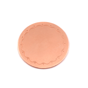 "Metal Stamping Blanks Copper 3/4"" (19mm) Circle Wavy Border Blank, 24g"