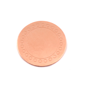 "Metal Stamping Blanks Copper Circle Dot Border Blank, 19mm (.75""), 24g"