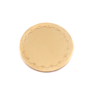 "Metal Stamping Blanks Brass Circle with Wavy Border, 19mm (.75""), 24g"