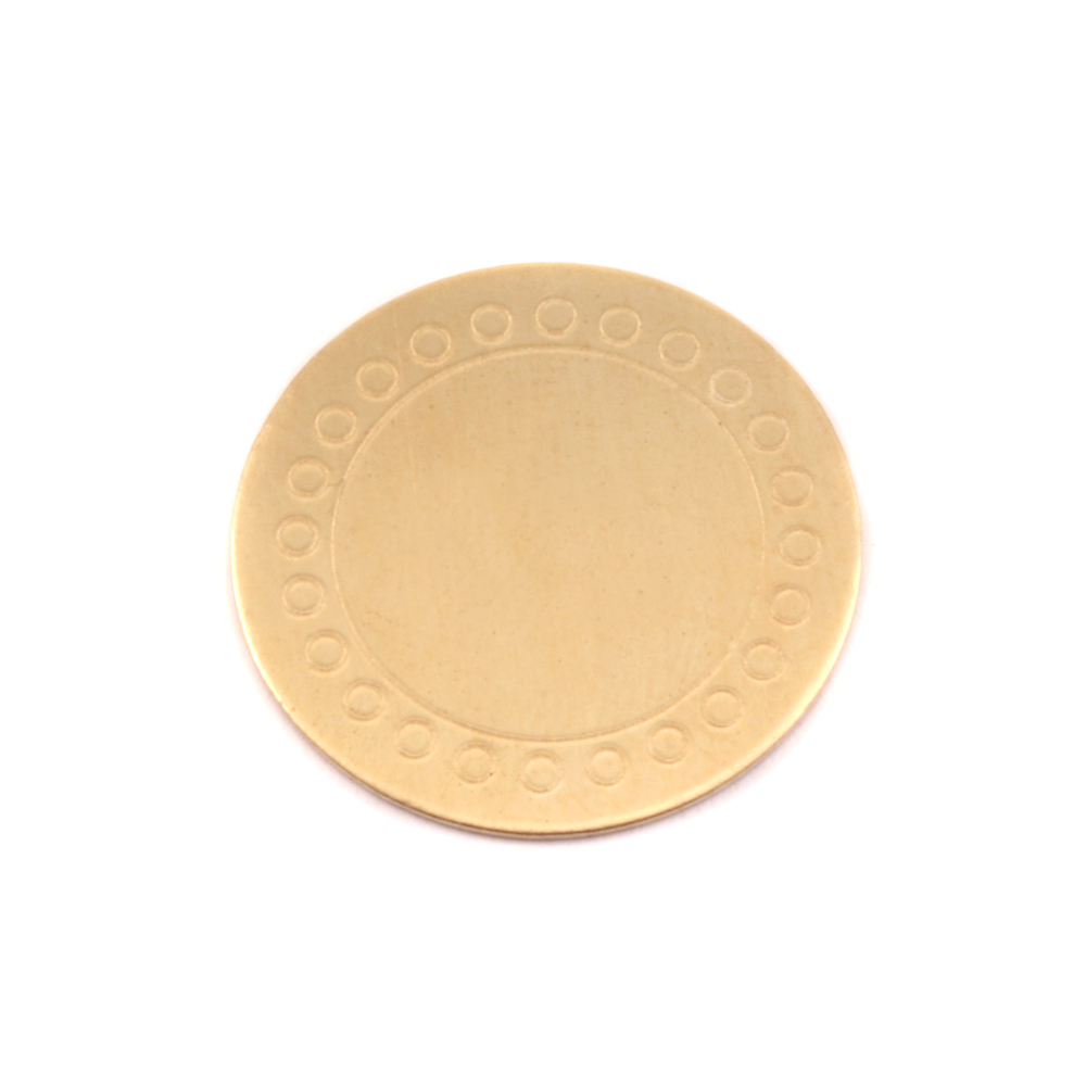 "Metal Stamping Blanks Brass Round, Disc, Circle with Open Dot Border, 19mm (.75""), 24g"