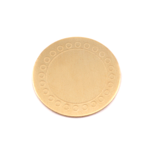 "Metal Stamping Blanks Brass 3/4"" (19mm) Circle Dot Border Blank, 24g"