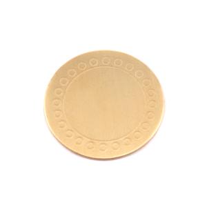 """Metal Stamping Blanks Brass Circle Dot Border Blank 19mm (.75""""), 24g"""