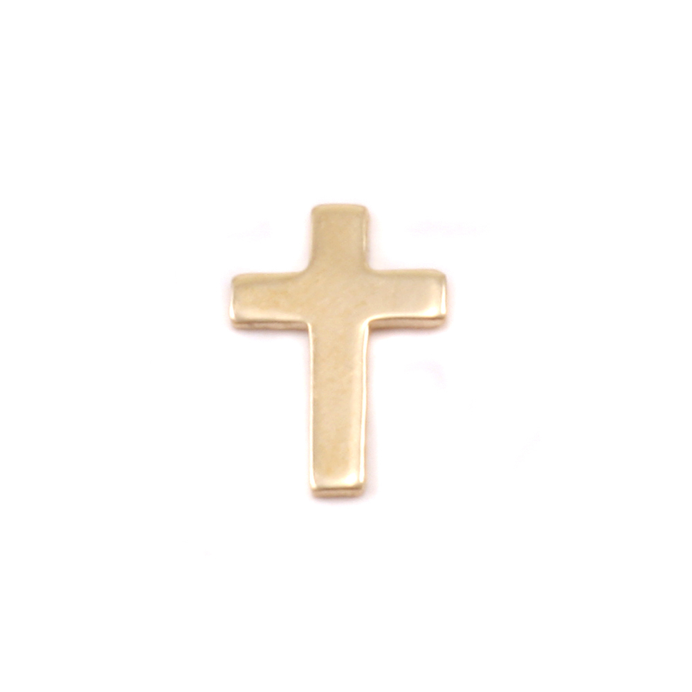 "Charms & Solderable Accents Gold Filled Mini Cross Solderable Accent, 9mm (.35"") x 6mm (.24""), 24g - Pack of 5"