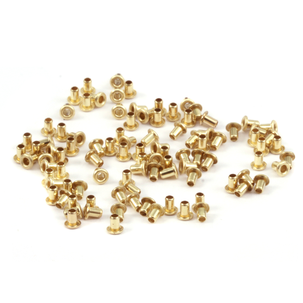 "Rivets and Findings  Brass Hollow 1/16"" Eyelets, 3/32"" Long"