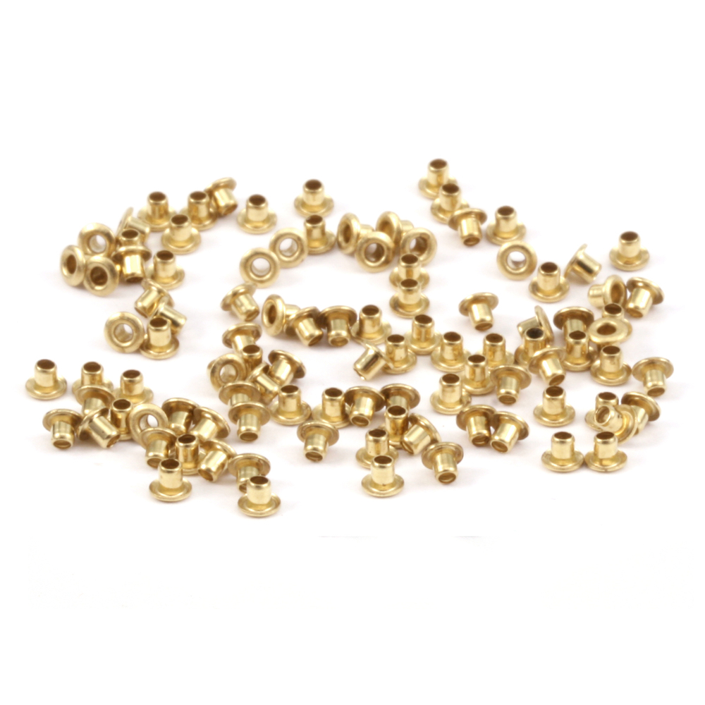 "Rivets and Findings  Brass Hollow 1/16"" Eyelets, 1/16"" Long, Pack of 100"
