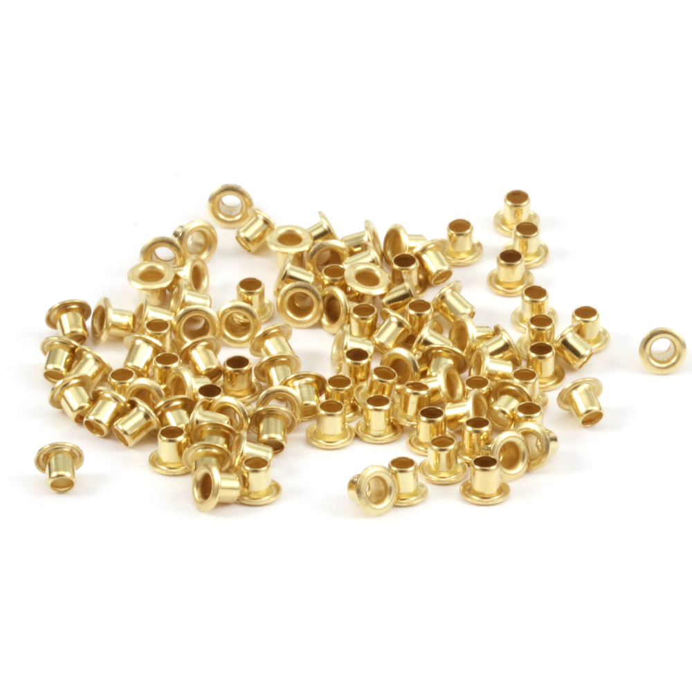 "Rivets and Findings  Brass Hollow 3/32"" Eyelets, 3/32"" Long, Pack of 100"