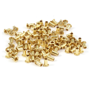 "Rivets and Findings  Brass Hollow 3/32"" Eyelets, 5/32"" Long, Pack of 100"