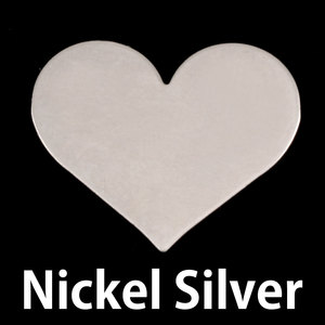 "Metal Stamping Blanks Nickel Silver Classic Heart, 26.5mm (1.04"") x 21.5mm (.84""), 24g, Pk of 5"