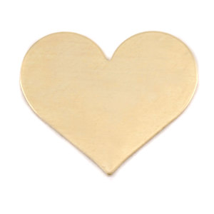 "Metal Stamping Blanks Brass Classic Heart, 26.5mm (1.04"") x 21.5mm (.84""), 24g"