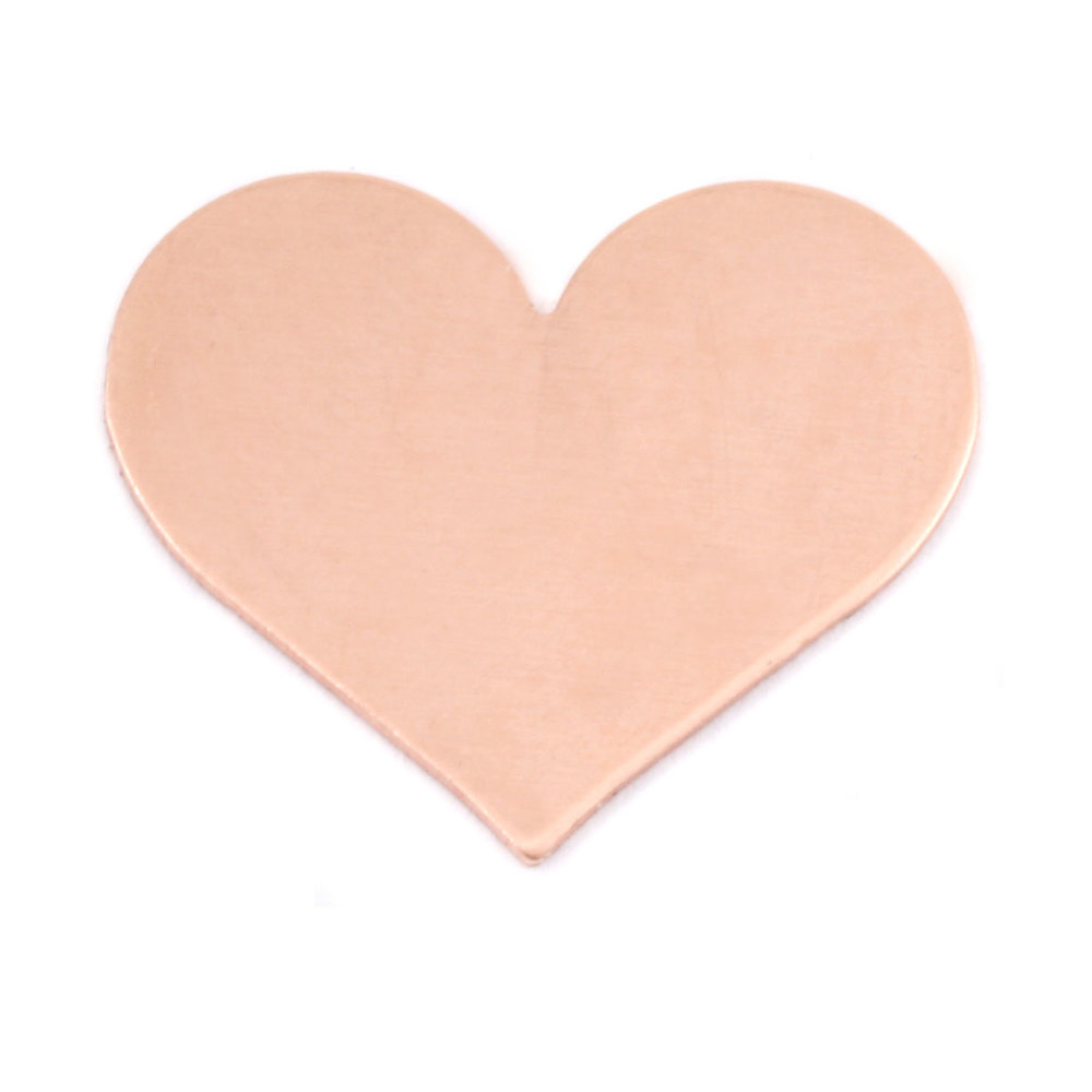 "Metal Stamping Blanks Copper Classic Heart, 26.5mm (1.04"") x 21.5mm (.84""), 24g, Pk of 5"