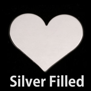 "Metal Stamping Blanks Silver Filled Classic Heart, 26.5mm (1.04"") x 21.5mm (.84""), 24g"