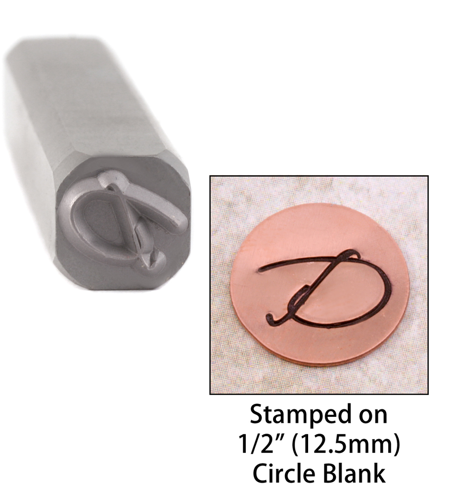 "Metal Stamping Tools Script Individual Letter ""D""  8mm"