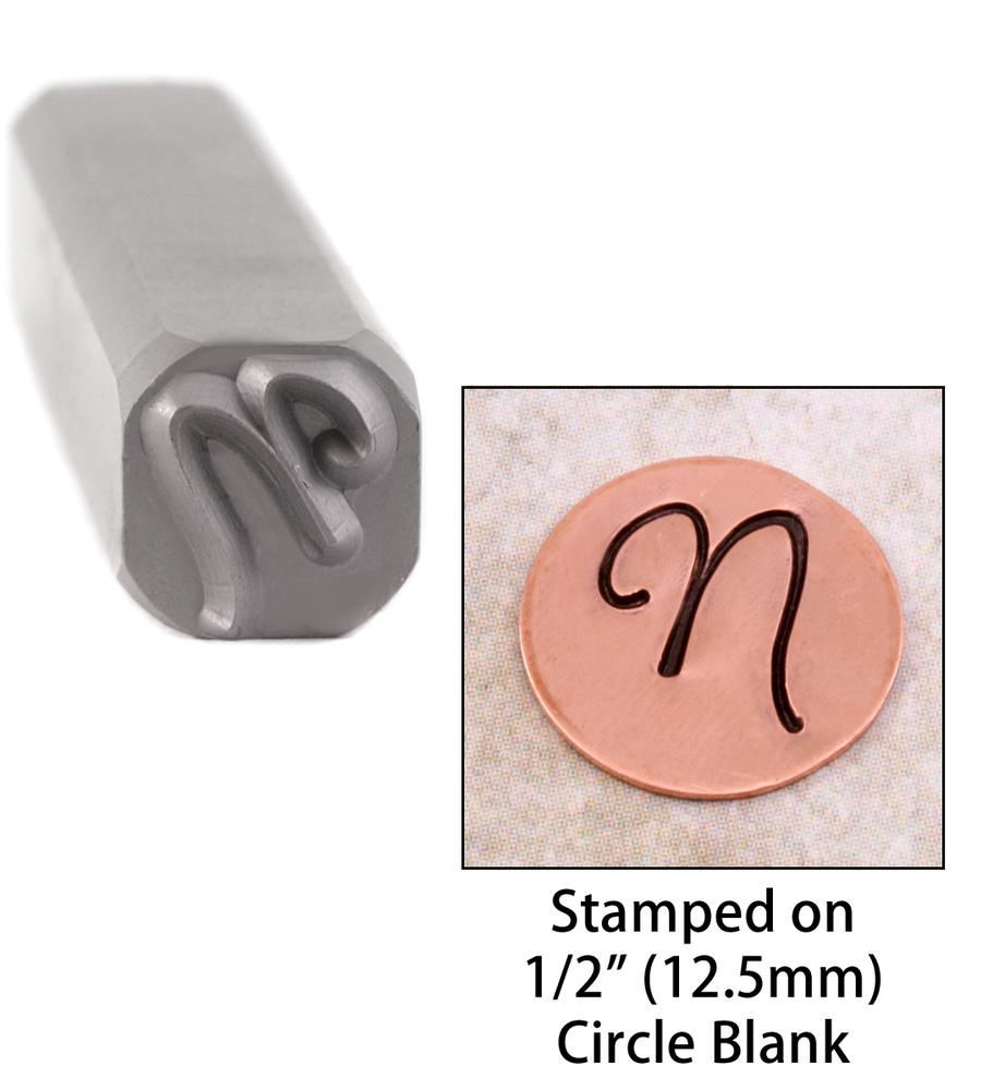 "Metal Stamping Tools Script Individual Letter ""N""  8mm"