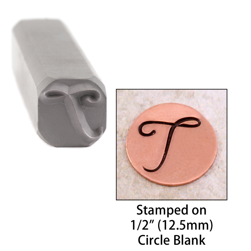 "Metal Stamping Tools Script Individual Letter ""T""  8mm"