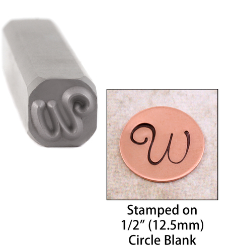 "Metal Stamping Tools Script Individual Letter ""W""  8mm"
