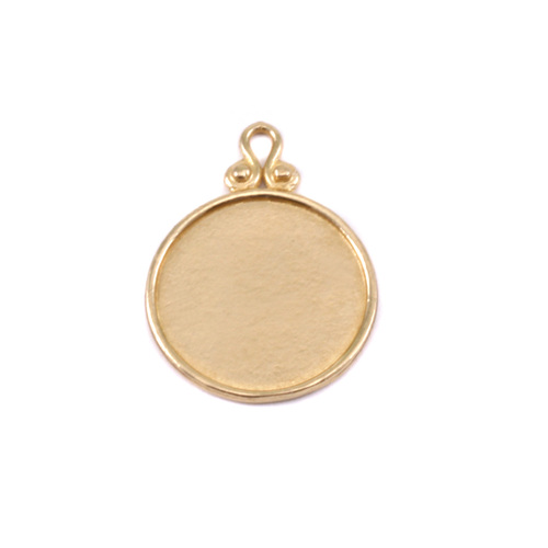 Metal Stamping Blanks Brass Circle Pendant with Raised Edge