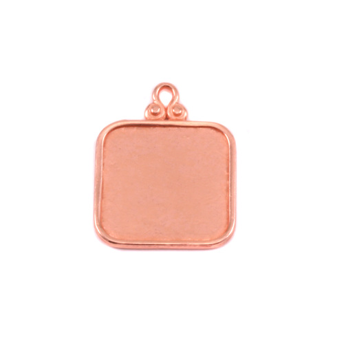 Metal Stamping Blanks Copper Rounded Square Pendant w/Raised Edge