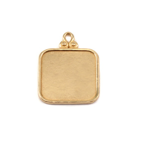 Metal Stamping Blanks Brass Rounded Square Pendant w/Raised Edge