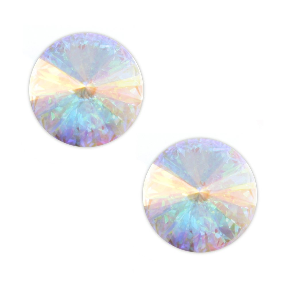 Beads & Swarovski Crystals Swarovski Crystal Rivoli Stone - Clear Crystal AB 14mm, Pack of 2