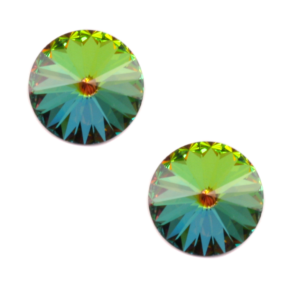 Beads & Swarovski Crystals Swarovski Crystal Rivoli Stone - Medium Vitrail 14mm, Pack of 2
