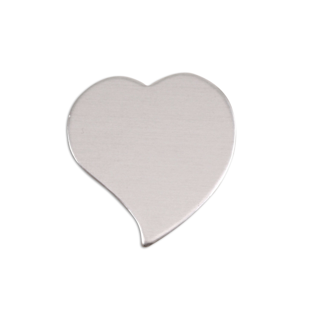 "Metal Stamping Blanks Aluminum Stylized Heart, 22mm (.88"") x 19.5mm (.75""), 18g, Pk of 5"