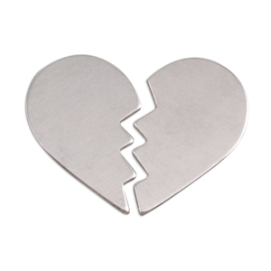 "Metal Stamping Blanks Aluminum Broken Heart, 2 parts, 26mm (1.02"") x 16mm (.63""), 18g, Pk of 5"