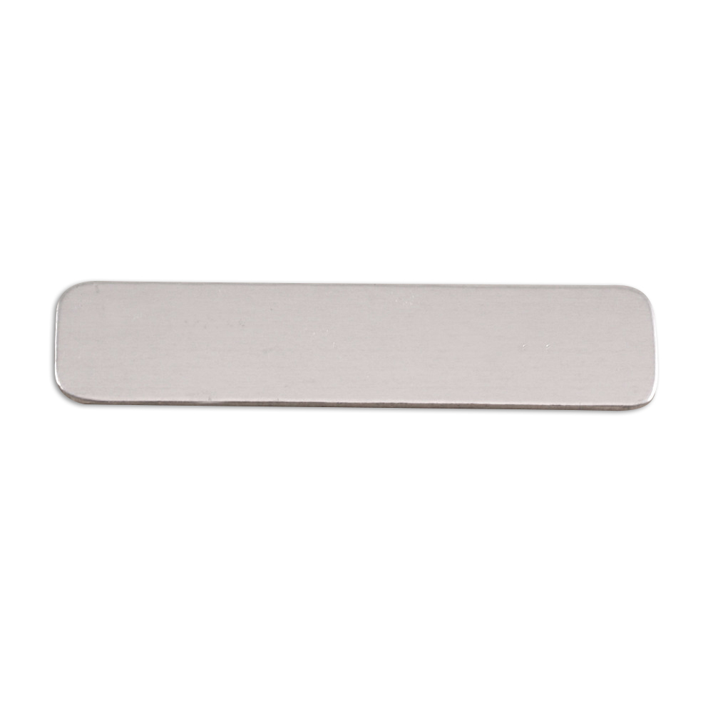 "Metal Stamping Blanks Aluminum Rounded Rectangle, 45mm (1.77"") x 10mm (.39""), 18g, Pk of 5"