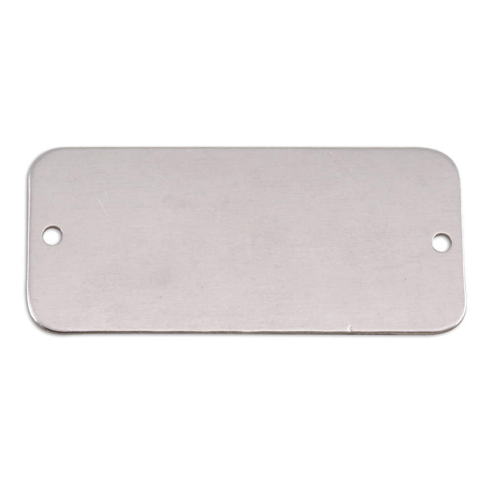 "Metal Stamping Blanks Aluminum Rectangle with Holes, 44.5mm (1.75"") x 20mm (.79""), 18g"