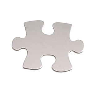 "Metal Stamping Blanks Aluminum Puzzle Piece, 31mm (1.25"") x 23.5mm (.93""), 18g, Pk of 5"