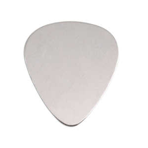 "Metal Stamping Blanks Aluminum Guitar Pick Shape, 30mm (1.18"") x 25.5mm (1""), 18g - Pk of 5"