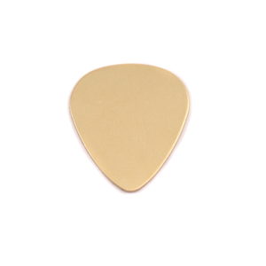 "Metal Stamping Blanks Brass ""Guitar Pick"", 20mm (.79"") x 17mm (.67""), 24g"
