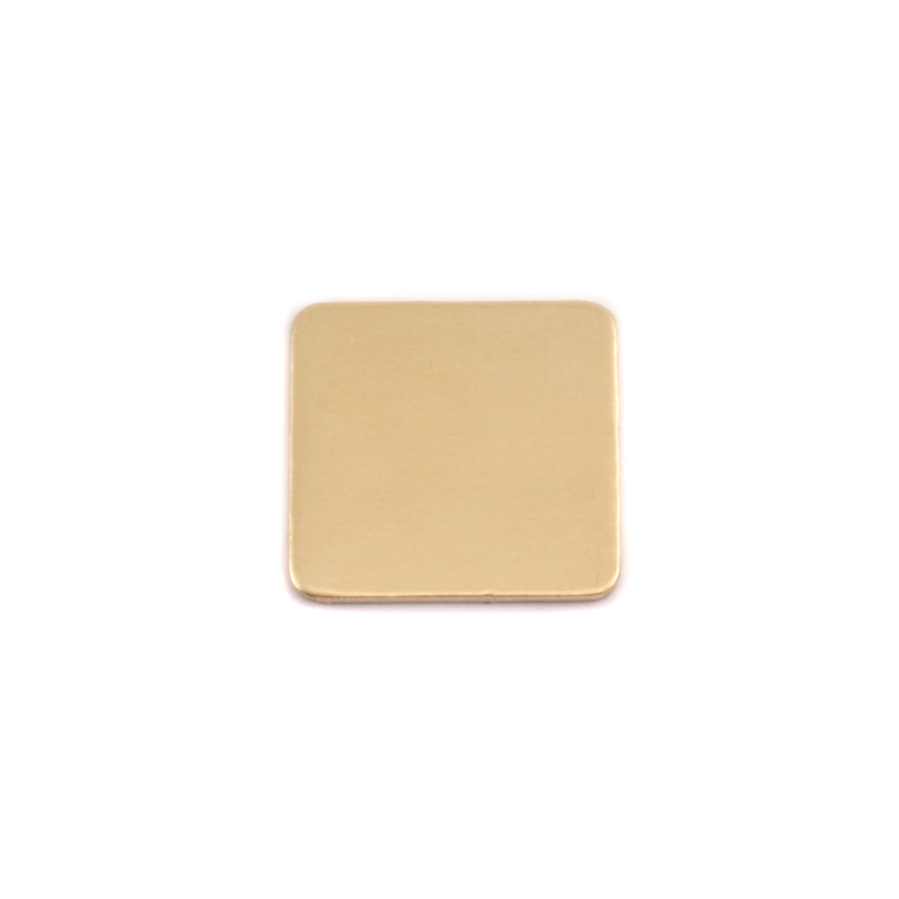 "Metal Stamping Blanks Brass Rounded Square, 13mm (.51""), 24 Gauge, Pack of 5"