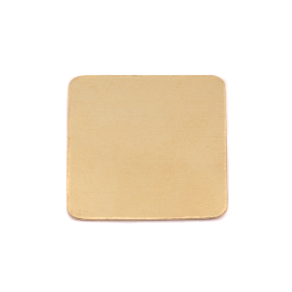 "Metal Stamping Blanks Brass Large Rounded Square, 19.25mm (.75""), 24g"
