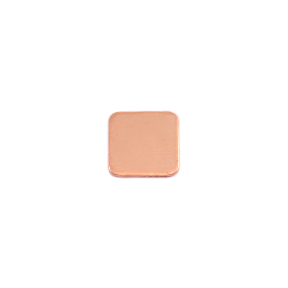 "Metal Stamping Blanks Copper Rounded Square, 8.5mm (.33""), 24g, Pack of 5"