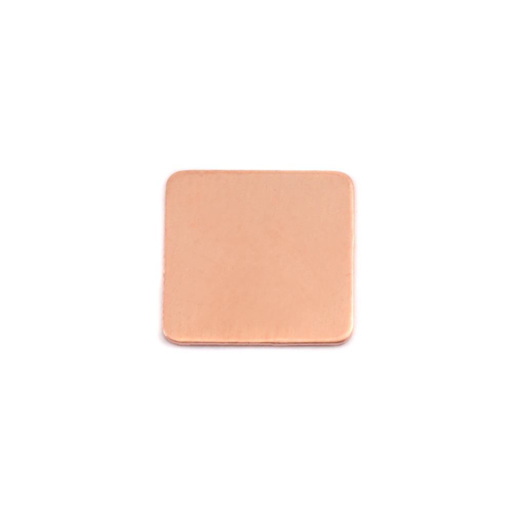 "Metal Stamping Blanks Copper Rounded Square, 13mm (.51""), 24g, Pk of 5"