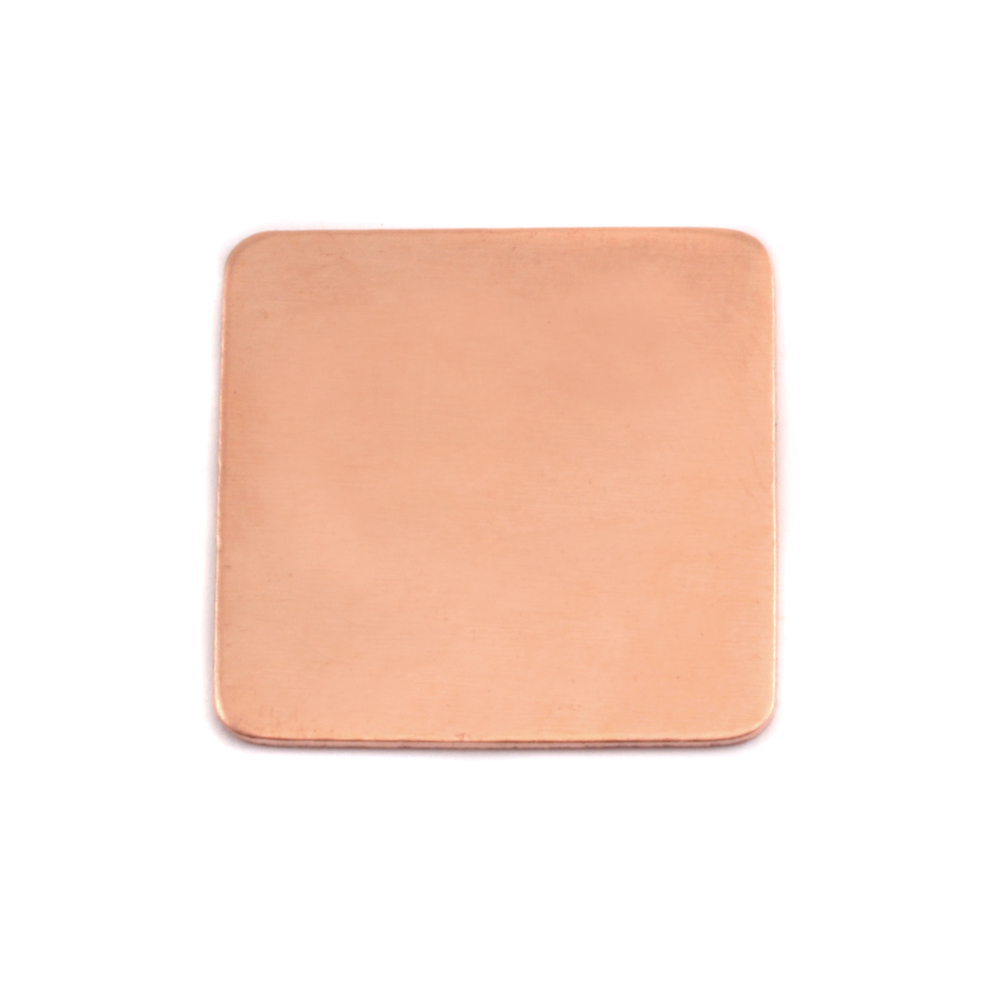 "Metal Stamping Blanks Copper Rounded Square, 19mm (.75""), 24g, Pack of 5"