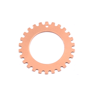 "Metal Stamping Blanks Copper Notched Washer, 25mm (1"") with 16mm (.63"") ID, 24g, Pack of 5"