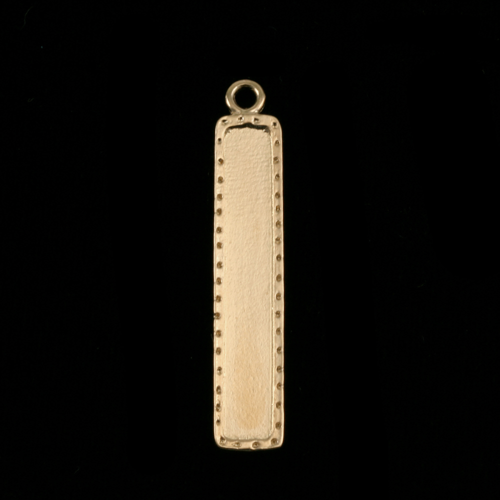 "Metal Stamping Blanks Gold Plated Dotted Raised Edge Rectangle Pendant, 40.5mm (1.60"") x 7.5mm (.30""), 16g"