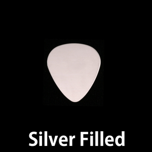 "Metal Stamping Blanks Silver Filled ""Guitar Pick"", 15mm (.60"") x 13mm (.51""), 24g"