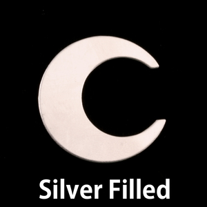 "Metal Stamping Blanks Silver Filled Crescent Moon, 25.4mm (1""), 24g"
