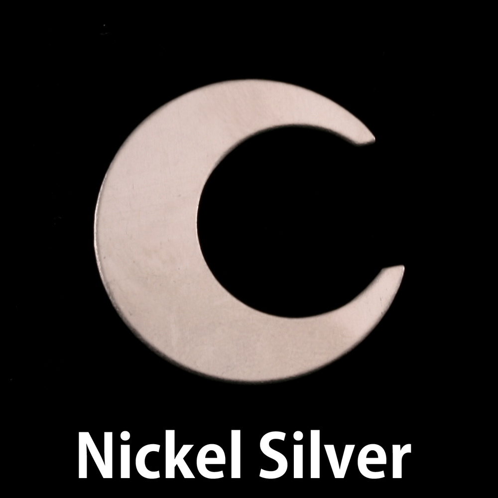 "Metal Stamping Blanks Nickel Silver Crescent Moon, 25.4mm (1""), 24g"